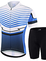 cheap -21Grams Men's Short Sleeve Cycling Jersey with Shorts Summer Spandex Polyester Blue+White Polka Dot Stripes Bike Clothing Suit 3D Pad Quick Dry Moisture Wicking Breathable Reflective Strips Sports