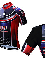 cheap -21Grams Men's Short Sleeve Cycling Jersey with Shorts Summer Spandex Polyester Black / Red American / USA National Flag Bike Clothing Suit 3D Pad Quick Dry Moisture Wicking Breathable Reflective