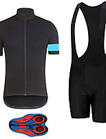 cheap -21Grams Men's Short Sleeve Cycling Jersey with Bib Shorts Summer Spandex Polyester Black / Blue Solid Color Bike Clothing Suit 3D Pad Quick Dry Moisture Wicking Breathable Reflective Strips Sports