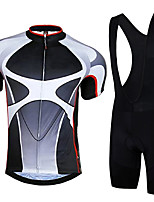cheap -21Grams Men's Short Sleeve Cycling Jersey with Bib Shorts Summer Spandex Polyester Gray+White Bike Clothing Suit 3D Pad Quick Dry Moisture Wicking Breathable Reflective Strips Sports Graphic Mountain