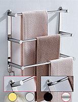 cheap -Bathroom Three-layer Shelf with Hooks Stainless Steel Multi-function Towel Rack Wall Mounted 1pc