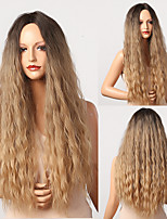cheap -Long Curly Synthetic Wig Middle Part Black Brown Blonde Ombre Wig for Black Women Afro Cosplay Heat Resistant Wig