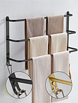 cheap -Bathroom Three-layer Shelf with Hooks Stainless Steel Multi-function Towel Rack Matte Black and Golden 1pc
