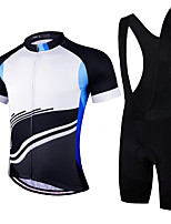 cheap -21Grams Men's Short Sleeve Cycling Jersey with Bib Shorts Summer Spandex Polyester Bule / Black Stripes Bike Clothing Suit 3D Pad Quick Dry Moisture Wicking Breathable Reflective Strips Sports Stripes