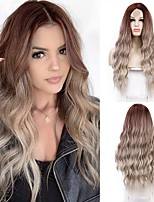 cheap -Ombre Blonde Wig Middle Part Blonde Wigs for Women Long Wavy Wig Heat Resistant Synthetic Wig Natural Looking Daily Party Use 26 Inch