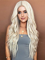 cheap -24 inches Platinum Blonde Curly Wavy Heat Resistant Synthetic Hair Wigs for Women Middle Parting None Lace Front Hair Replacement Wigs