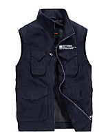 cheap -Men's Hiking Vest / Gilet Fishing Vest Military Tactical Jacket Sleeveless Jacket Coat Top Outdoor Quick Dry Multi Pockets Lightweight Breathable Autumn / Fall Spring Summer Military color khaki Navy