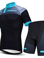 cheap -21Grams Men's Short Sleeve Cycling Jersey with Shorts Summer Spandex Polyester Blue / Black Stripes Bike Clothing Suit 3D Pad Quick Dry Moisture Wicking Breathable Reflective Strips Sports Stripes