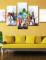cheap -5 Panels Wall Art Canvas Prints Painting Artwork Picture Super Hero Cartoon Home Decoration Decor Rolled Canvas No Frame Unframed Unstretched
