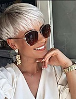 cheap -creamily short pixie cuts hair wigs ombre platinum blonde natural straight heat resistant synthetic wigs with bangs natural daily use wig with wigs cap for black women