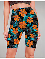 cheap -Women's Stylish Athleisure Breathable Soft Beach Fitness Biker Shorts Pants Flower / Floral Graphic Prints Knee Length Print Black
