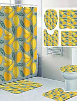 cheap -Designed Cartoon Fruit Pattern Four-piece Bathroom Non-slip Bath Mat Toilet Cover Polyester Waterproof Shower Curtain 72 Inch