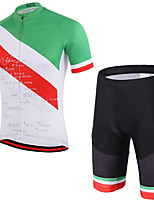cheap -21Grams Men's Short Sleeve Cycling Jersey with Shorts Summer Spandex Polyester Green Stripes Italy National Flag Bike Clothing Suit 3D Pad Quick Dry Moisture Wicking Breathable Reflective Strips