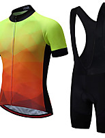 cheap -21Grams Men's Short Sleeve Cycling Jersey with Bib Shorts Summer Spandex Polyester Orange Gradient Bike Clothing Suit 3D Pad Quick Dry Moisture Wicking Breathable Reflective Strips Sports Gradient