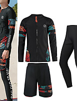 cheap -Men's Rash Guard Dive Skin Suit Nylon Swimwear UV Sun Protection UPF50+ Quick Dry Stretchy Long Sleeve 3-Piece - Swimming Diving Surfing Snorkeling Floral / Botanical Autumn / Fall Spring Summer