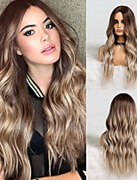 cheap -Synthetic Dark Root Light Brown Ombre Grey Long Wavy Hair Wigs Center Part Cosplay Costume Wig for White Black Women