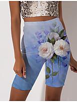 cheap -Women's Stylish Athleisure Breathable Soft Beach Fitness Biker Shorts Pants Flower / Floral Graphic Prints Knee Length Print Blue