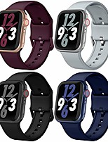 cheap -4 pack sport band compatible with apple watch band 42mm 44mm, soft silicone apple watch replacement strap with classic clasp for apple iwatch series 6 5 4 3 2 1 se women men, 42/44mm