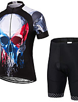 cheap -21Grams Men's Short Sleeve Cycling Jersey with Shorts Summer Spandex Polyester Black Sugar Skull Bone Bike Clothing Suit 3D Pad Quick Dry Moisture Wicking Breathable Reflective Strips Sports Sugar