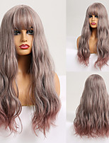 cheap -Synthetic Wig Wavy Natural Wave With Bangs Wig 24 inch Pink / Purple Synthetic Hair Women's Fashionable Design Heat Resistant Natural Purple