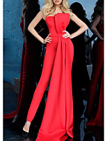 cheap -Jumpsuits Minimalist Elegant Engagement Formal Evening Dress Strapless Sleeveless Floor Length Stretch Fabric with Draping 2021
