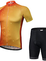cheap -21Grams Men's Short Sleeve Cycling Jersey with Shorts Summer Spandex Polyester Red / Yellow Gradient Bike Clothing Suit 3D Pad Quick Dry Moisture Wicking Breathable Reflective Strips Sports Gradient