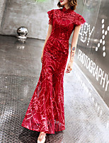 cheap -Mermaid / Trumpet Chinese Style Vintage Engagement Formal Evening Dress Stand Collar Short Sleeve Floor Length Tulle with Embroidery Pattern / Print 2021