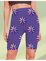 cheap -Women's Stylish Athleisure Breathable Soft Beach Fitness Biker Shorts Pants Graphic Flower / Floral Knee Length Print Purple
