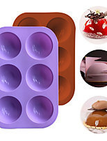 cheap -6 Hole Hot Cocoa Boom molds Half Sphere chocolate bomb silicone molds with brush Ice Fondant Mould Baking Accessories
