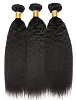 cheap -Ishow 3 Bundles Human Hair Weaves 100% Human Hair Peru Hair 3 Pieces Of Yaki Straight Human Hair 8-28 Inch Hair Extensions