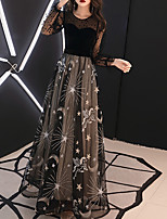 cheap -A-Line Elegant Floral Wedding Guest Formal Evening Dress Illusion Neck Long Sleeve Floor Length Tulle with Embroidery 2021