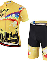 cheap -21Grams Men's Short Sleeve Cycling Jersey with Shorts Summer Spandex Polyester Black / Yellow Rainbow Bike Clothing Suit 3D Pad Quick Dry Moisture Wicking Breathable Reflective Strips Sports Rainbow