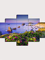 cheap -5 Panels Wall Art Canvas Prints Painting Artwork Picture Sea Floral Beach Landscape Home Decoration Décor Rolled Canvas No Frame Unframed Unstretched