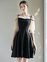 cheap -A-Line Minimalist Elegant Homecoming Cocktail Party Dress Spaghetti Strap Half Sleeve Short / Mini Stretch Fabric with Pleats 2021