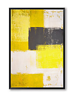 cheap -Oil Painting Handmade Hand Painted Wall Art Rectangle Simple Yellow Gray Abstract Home Decoration Decor Stretched Frame Ready to Hang