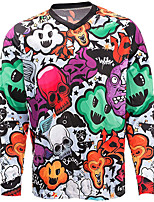 cheap -21Grams Men's Long Sleeve Cycling Jersey Spandex Polyester Dark Gray Skull Funny Bike Top Mountain Bike MTB Road Bike Cycling Quick Dry Moisture Wicking Breathable Sports Clothing Apparel / Stretchy