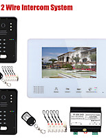 cheap -7 Inch BUS 2 Wire RFID Video Door Phone Intercom systems for 2 Outdoor Camera Code Keypad RFIC Camera home Access Control System