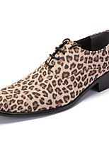 cheap -Men's Oxfords Dress Shoes Vintage Classic Daily Party & Evening PU Non-slipping Height-increasing Khaki Brown Leopard Fall Spring