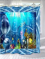 cheap -Marine Life Theme Series Digital Printing Shower Curtain Shower Curtains  Hooks Modern Polyester New Design