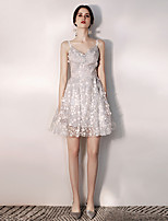 cheap -A-Line Elegant Floral Homecoming Cocktail Party Dress Spaghetti Strap Sleeveless Short / Mini Tulle with Pleats Pattern / Print 2021