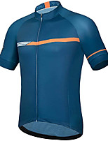cheap -21Grams Men's Short Sleeve Cycling Jersey Summer Spandex Blue Bike Top Mountain Bike MTB Road Bike Cycling Quick Dry Moisture Wicking Sports Clothing Apparel / Stretchy / Athleisure