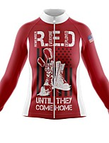 cheap -21Grams Women's Long Sleeve Cycling Jersey Spandex Polyester Red American / USA Funny Bike Top Mountain Bike MTB Road Bike Cycling Quick Dry Moisture Wicking Breathable Sports Clothing Apparel
