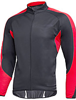 cheap -Men's Cycling Jacket Winter Bike Top Fleece Lining Quick Dry Sports Patchwork Black / Red Clothing Apparel Bike Wear / Long Sleeve / Micro-elastic / Athleisure