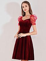 cheap -A-Line Minimalist Elegant Homecoming Cocktail Party Dress Sweetheart Neckline Short Sleeve Short / Mini Velvet with Pleats 2021