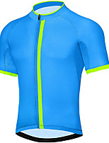 cheap -21Grams Men's Short Sleeve Cycling Jersey Summer Spandex Blue Stripes Bike Top Mountain Bike MTB Road Bike Cycling Quick Dry Moisture Wicking Sports Clothing Apparel / Stretchy / Athleisure