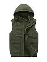 cheap -Men's Fishing Vest Hiking Fleece Vest Sleeveless Winter Jacket Coat Top Outdoor Thermal Warm Windproof Fleece Lining Quick Dry Autumn / Fall Winter Fleece ArmyGreen khaki Hunting Fishing Climbing