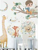 cheap -Cute cartoon stickers giraffe lion fox decoration stickers children's room kindergarten wall stickers big tree wall stickers