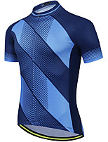 cheap -21Grams Men's Short Sleeve Cycling Jersey Summer Spandex Blue Polka Dot Bike Top Mountain Bike MTB Road Bike Cycling Quick Dry Moisture Wicking Sports Clothing Apparel / Stretchy / Athleisure