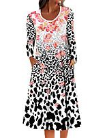 cheap -Women's A Line Dress Knee Length Dress Blue Purple White Light Blue Long Sleeve Butterfly Leopard Animal Pocket Print Fall Round Neck Casual 2021 S M L XL XXL 3XL