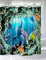 cheap -Reef Dolphin Series Digital Printing Shower Curtain Shower Curtains Hooks Modern Polyester New Design